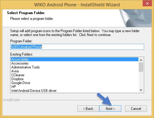 Select Program Folder