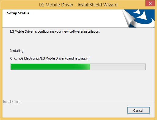 LG Installation Status Window