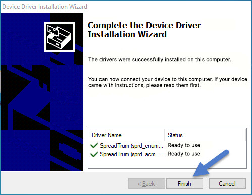 Spreadtrum Jungo Driver Installation Completed