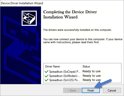 Spreadtrum SCI Driver Install Completed